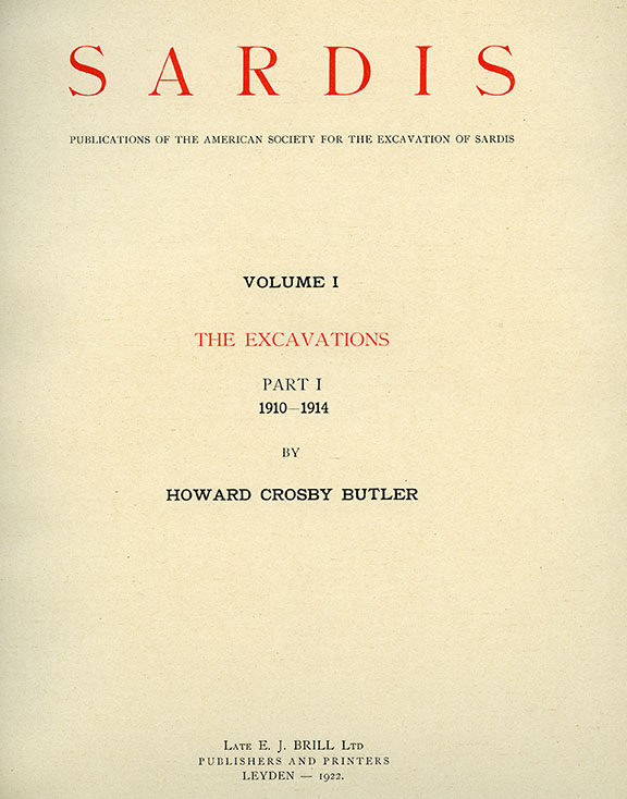 Sardis Volume I: The Excavations, Part I: 1910-1914